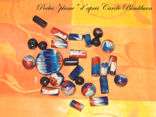 Perles plume d'après Carole Blackburn Perles-plume